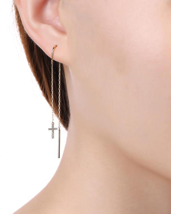 cross diamond earrings